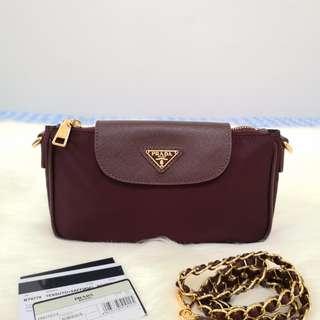 950487816e74 ON HAND: Authentic Prada BT0779 Tessuto Nylon Convertible Clutch Sling Bag  in Bordeux