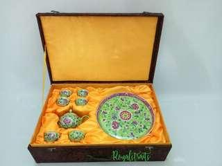 🚚 An Ideal Choice Present Peranakan Lime Teapot Set with Specials Box