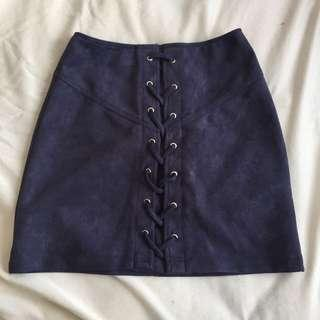 navy lace up skirt