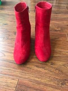 Rubi Red Suede Feel Boots