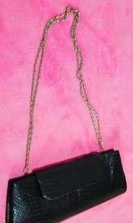 WWW Women's Black Snakeskin Shoulder / Clutch Bag