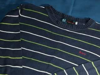 🚚 限時特賣🎈條紋針織長袖藏青線衫保暖佳!厚實耐磨!