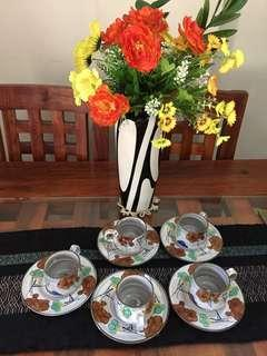 Stoneware cup and saucer set