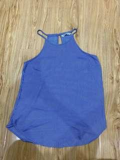 Blue chiffon sleeveless