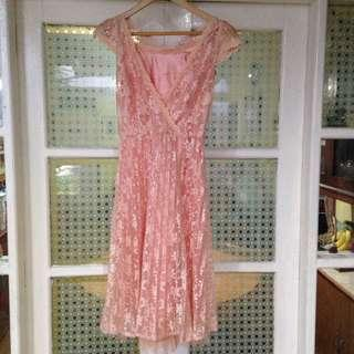 Peach Lace Dress from PaperDolls (S)
