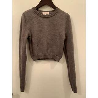 Aritzia XS Green Wool Crop Top