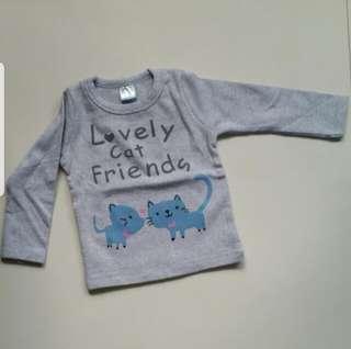 🚚 [Juniorcloset] 🆕️ GOOD MATERIAL! Cute kitty long sleeve tee  (size 90; 6-12 months)