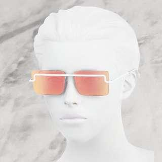 Adam Selman x LeSpecs The International Square Sunglasses in White/Red