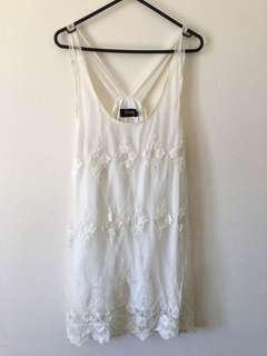 Lace Loose Fitting White Cocktail Dress