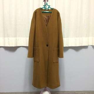 韓 焦糖棕色保暖大衣 9.9新