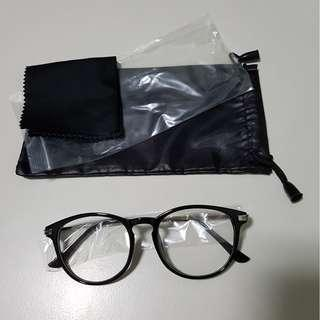 Vintage Retro Glossy Black With Silver Grip Rod Spectacle Frame Glasses Clear Lens