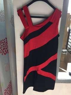 dress red black one shoulder