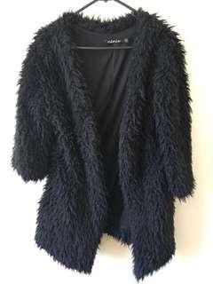 Shaggy Black Fur Coat