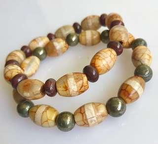 Dzi Beads & Pyrite /Blood Stone Bracelet