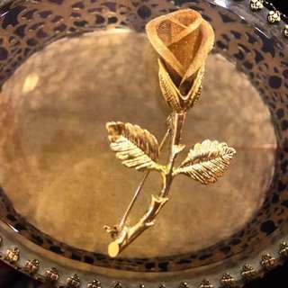 金色合金鍍金網紗型立體玫瑰胸針