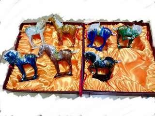 三彩馬 八俊馬 陶藝品