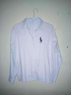 Baju kemeja polos biru soft polo