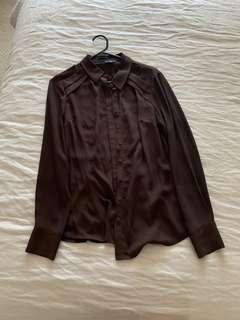 Cue brown shirt/blouse - size 8