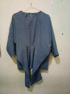 (P) Blouse baju kerja kuliah abu abu pita