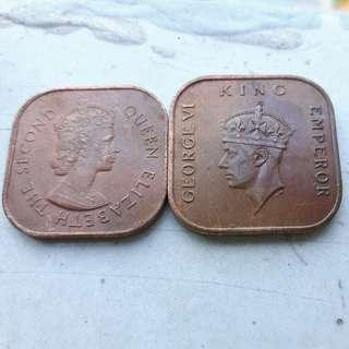 Vintage Square and Malaysia 1961 1 cent Coin