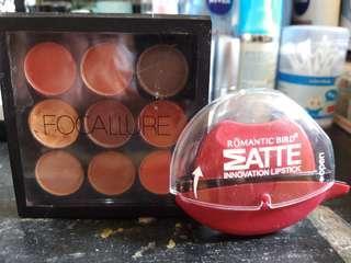 Paket 2 Eyeshadow Focallure dapat Lipstick emut