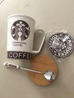 Starbucks Mug Cup set with spoon, cover and coaster