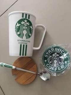 Starbucks Mug Cup set with coaster, spoon, cover