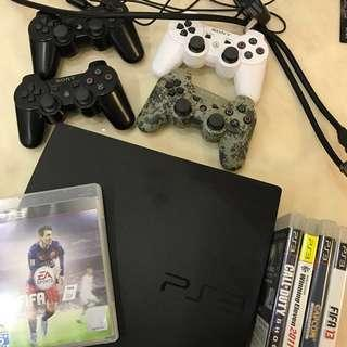 PS3 500GB Slim Full Set + 4 Controls + Games