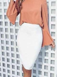 Forever 21 cotton midi pencil skirt