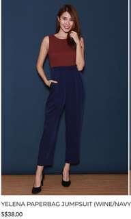 BNIP Fairebelle Paperbag jumpsuit (red/navy)