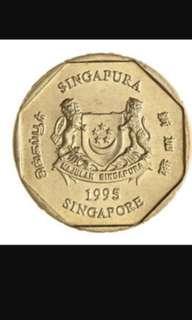 Singapore $1.00 coin in circulation.