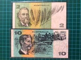 Australia $2 Banknote (issued 1974-1985) and $10 Banknote (issued 1974 to 1991)