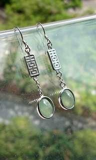 Happiness Design, Icy Myanmar Jade (Jadeite) Cabochon (Type A) on 925 Silver Earrings