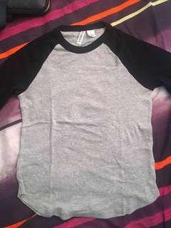 Kaos H&M raglan abu hitam ORIGINAL