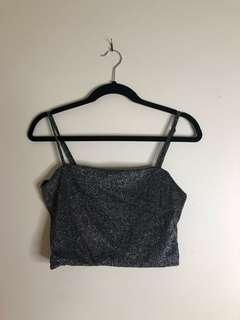 LUCK AND TROUBLE Square Top Glitter Grey