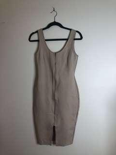 ROSEBULLET Zip Front Dress - Nude (Brand New with Tags RRP $49.99)