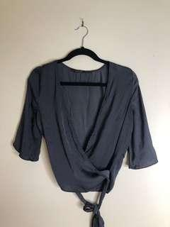 GLASSONS Wrap Top - Grey Blue