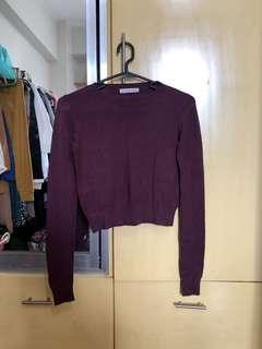 Purple Cropped Bershka Knit Top