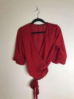 GLASSONS Wrap Top - Red