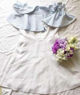 韓國 off shoulder White Baby Blue Cocktail Dress