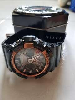 Gshock rose gold black analog digital watch