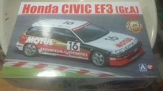 Honda CIVIC EF3 (Gr.A) '88 MOTUL 1/24 全新未砌跑車模型