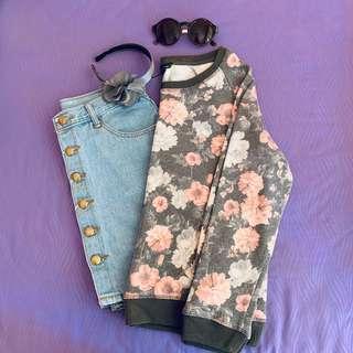 Mango Gray Floral Pastel Sweater #MFEB20