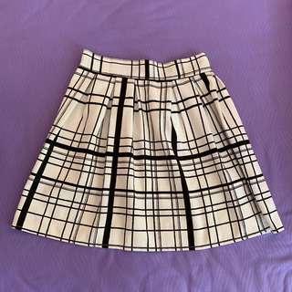 Black & White Grid Skater Skirt #MFEB20