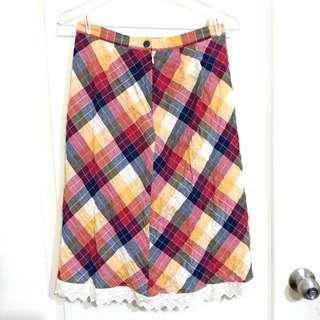 🚚 古著 格子 格紋 裙 彩色 七彩 拼接 拼布 及膝裙 短裙 長裙 蕾絲 紅 黃 藍