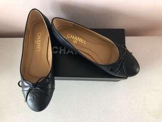 Chanel Black Logo Tie Ballet Flats