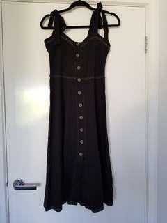 Asos black buttoned midi dress size 10