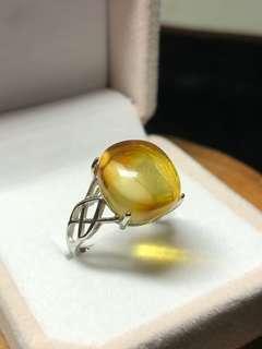 🚚 琥珀蜜蜡金包蜜戒指💍 Beeswax Amber 925 silver ring