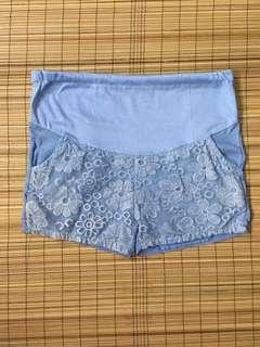 Maternity blue laced shorts 36 inches hipline