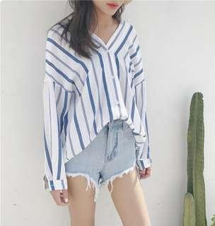 🚚 White & Blue Striped Oversized Blouse